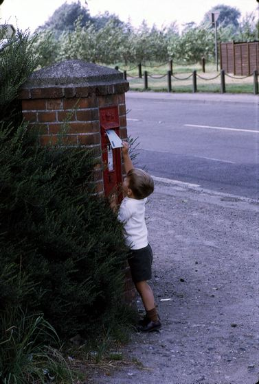Me mailing a letter in England, 1970.