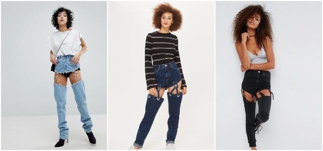 джинсы с подвязками
