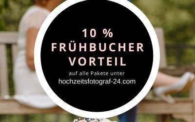 10 Prozent Frühbuchervorteil auf alle Hochzeitspakete *