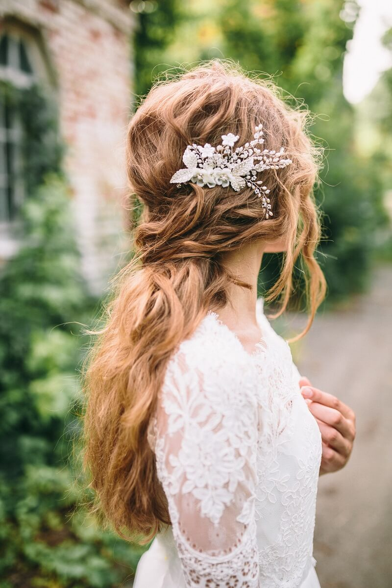 Brautfrisur halboffen fr lange Haare  30 Ideen
