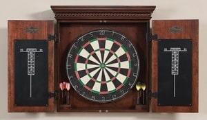 American Heritage Billiards Cavalier Dart Board Cabinet in Mocha