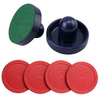 Set of Two Blue Air Hockey Pushers and Four Red Air Hockey Pucks Model