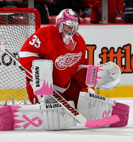 Jimmy howard vaughn pink goalie gear hockey fights cancer