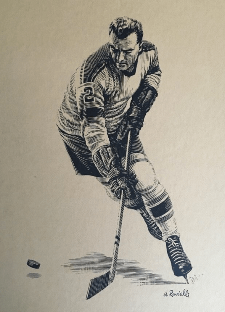 Anthony Ravielli Scratchboard Hockey Art  late 1950s