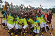 Tanzanian and dutch players all togeher to celebrate after the friendly match... RHC beated Twende 2-1.