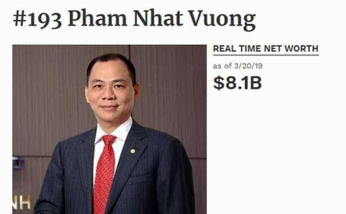 tỷ phú đô la Việt Nam đầu tiên Phạm Nhật Vượng