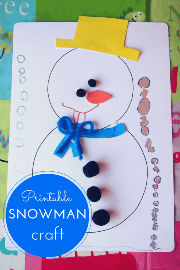 snowman crafts challenge printable snowman craft for 2962