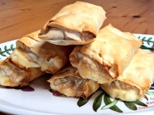 Halloumi, caramelised onion & filo rolls