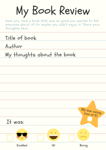 Literacy: Simple Children's Book Review Template