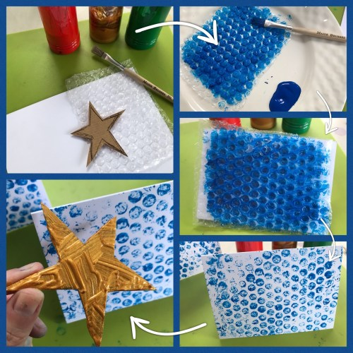 Kids Crafts: Bubble Wrap Printed Christmas Cards