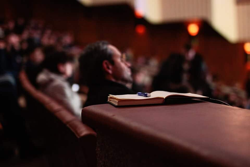 Open notebook at a professional development seminar