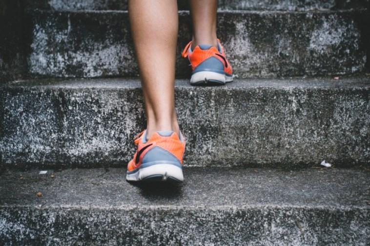 階段、人、足、運動