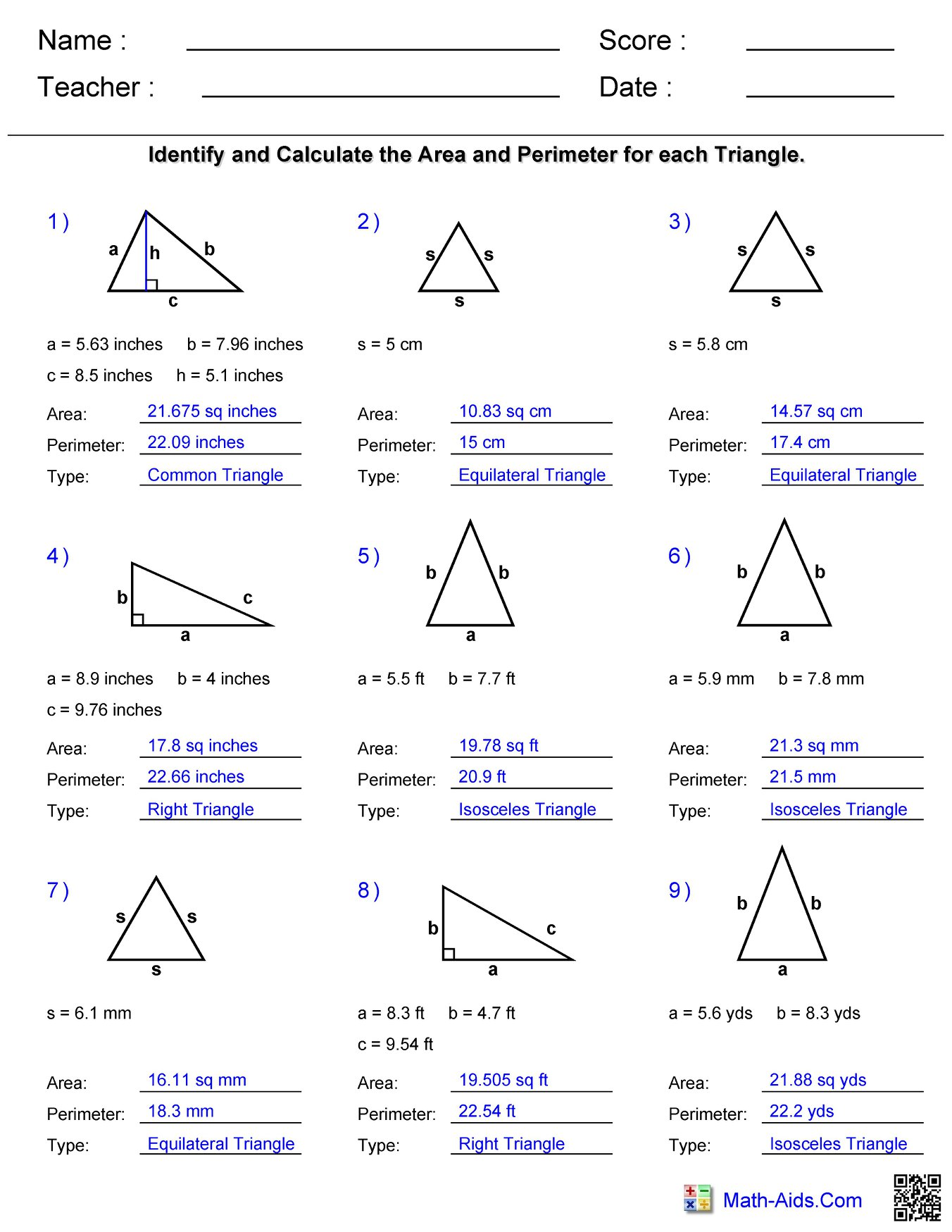 Triangle Area And Perimeter Answers Hoeden Homeschool