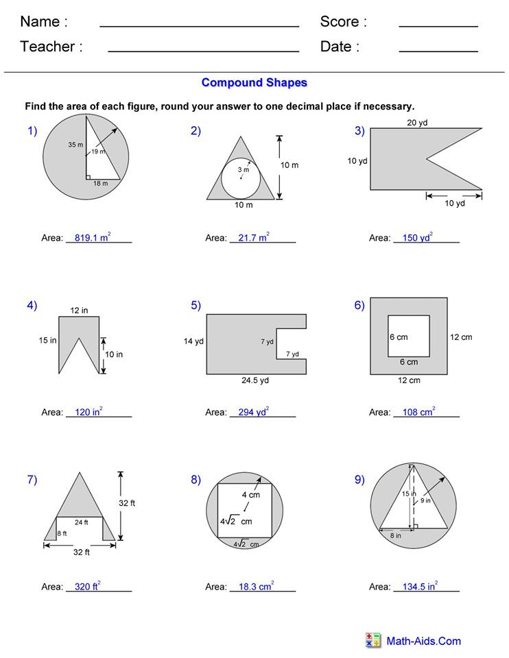 Area Compound Shape worksheet 3 answers   Hoeden at Home