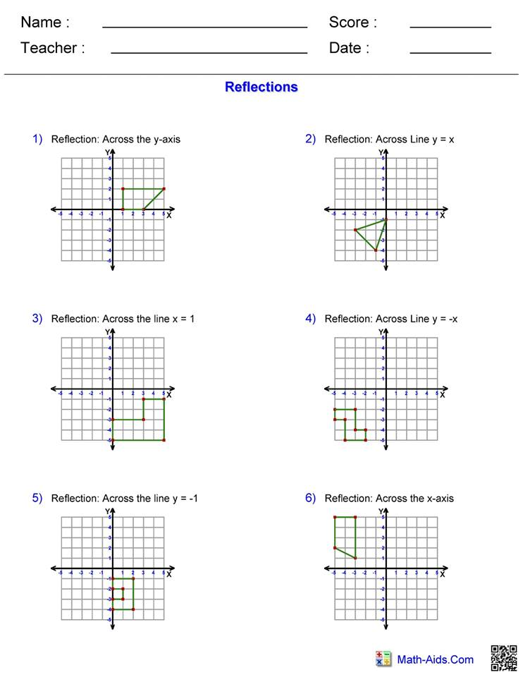 Reflections worksheet