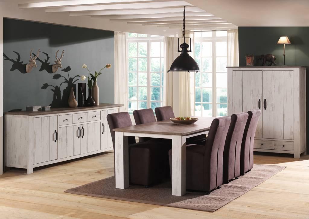 woonkamer set wit hout meubel chrome hoogglans zwart