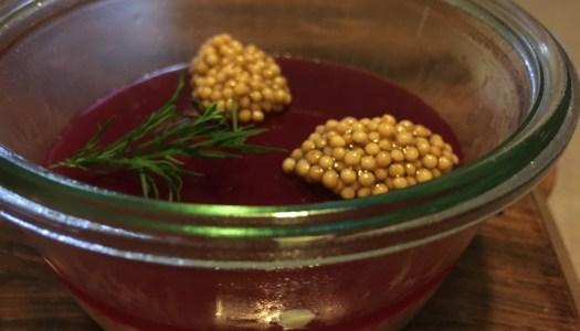 Foie gras creme med granatæblegelé og syltede sennepskorn