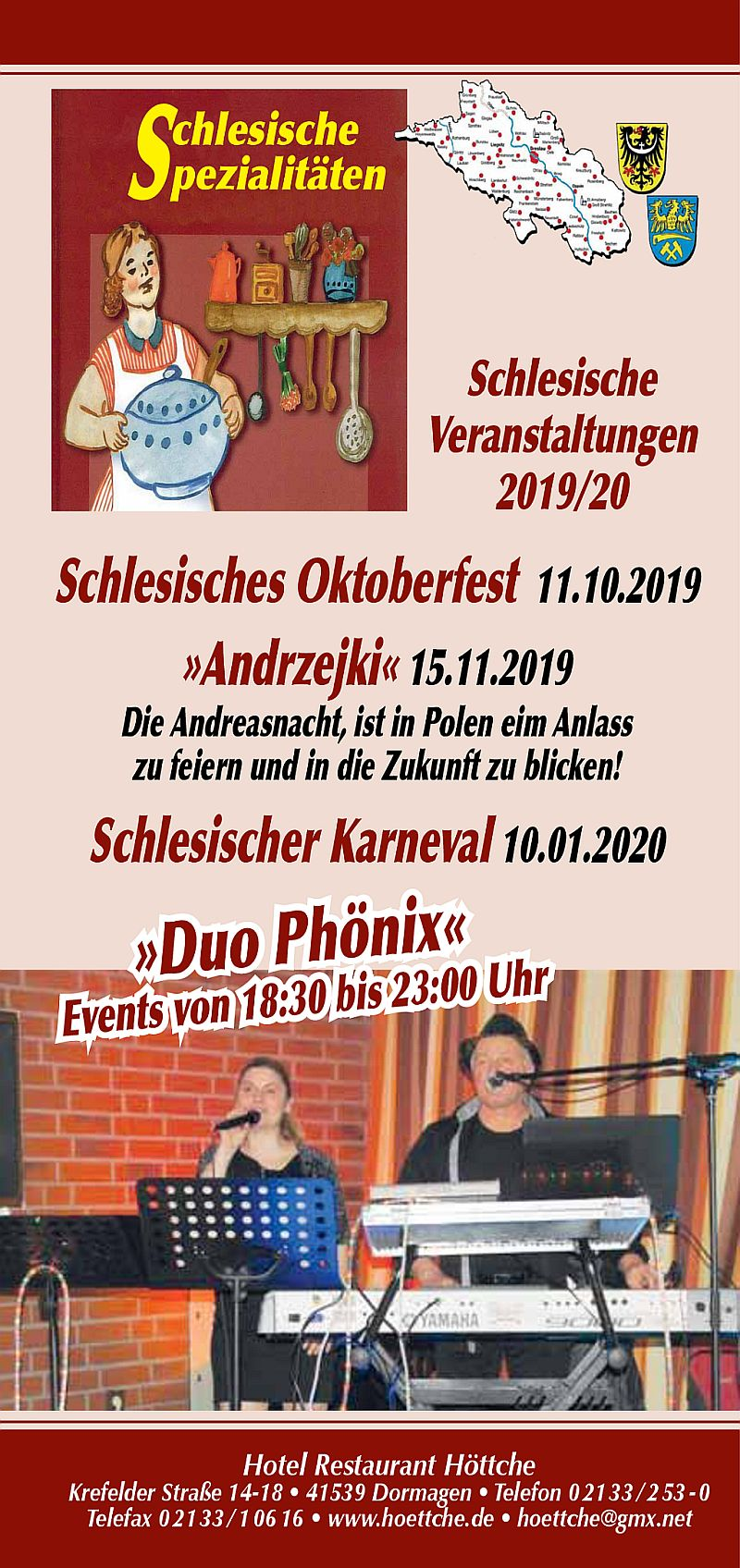 Schlesische Veranstaltungen 2019/2020 im Hotel Höttche