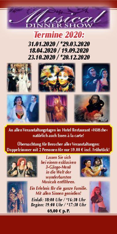 Musical Dinner Show 2020, Hotel Restaurant Höttche