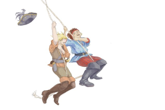 Illustration of two pirates swinging across the page