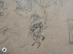 The Jester stands alone with his lute and dances. Pencil on packing paper - rough draft