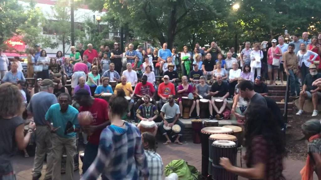 Downtown Asheville drum circles on a Saturday evening are one of the most amazing things to do in Asheville, N.C.