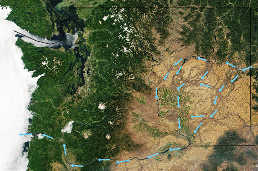 The pathway of Glacial Lake Missoula as it worked its way to the Pacific Ocean across Washington.