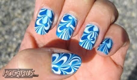 Swirl blue Nail Art