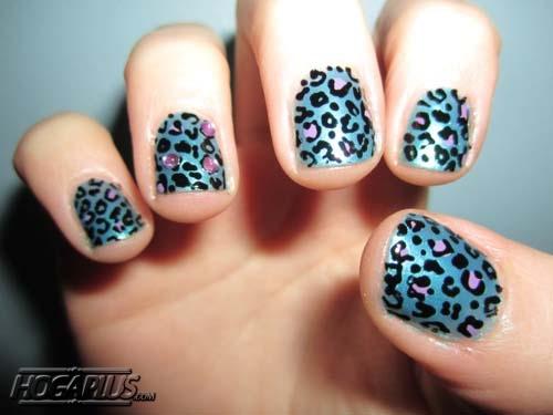 Leopard blue Nail Art