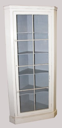 A 19th Century White Painted Floor Standing Corner Cabinet ...