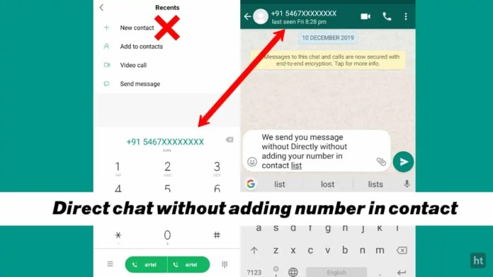 send message without saving number