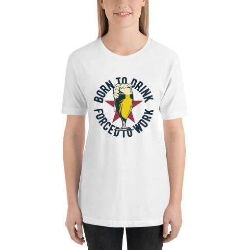 Born to Drink Beer mockup Front Womens White
