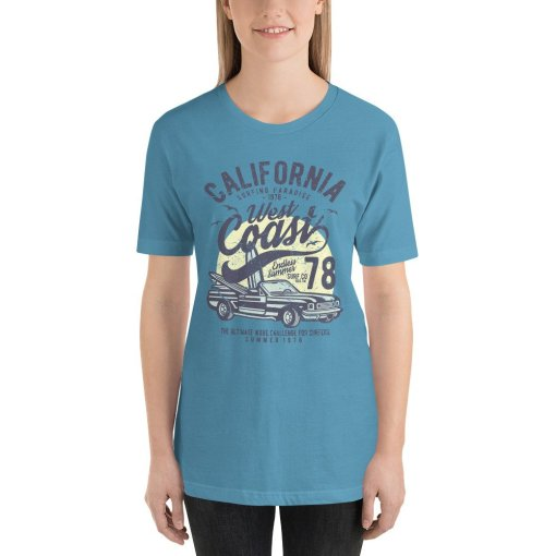 California West Coast mockup Front Womens Ocean Blue