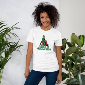 Down for Shenanigans mockup Front Womens Lifestyle 2 White