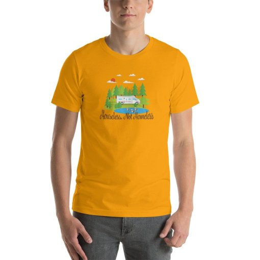 Houseless Not Homeless M mockup Front Mens Gold