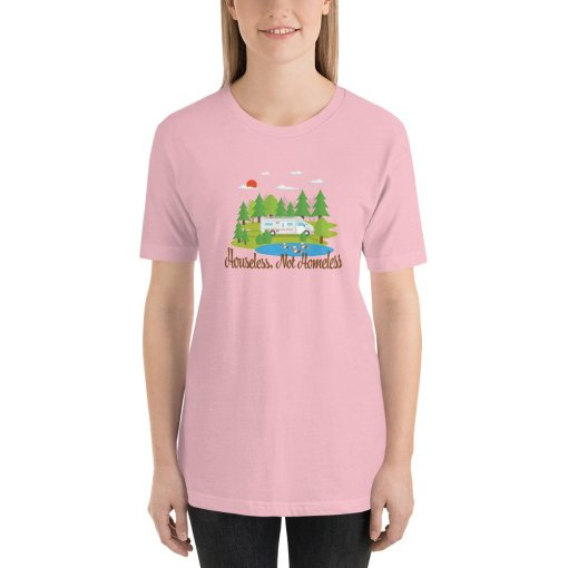 Houseless Not Homeless M mockup Front Womens Pink