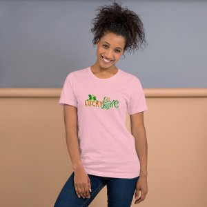 Lucky in Love mockup Front Womens Lifestyle Pink