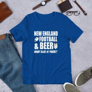New England football mockup Front Flat Lifestyle True Royal