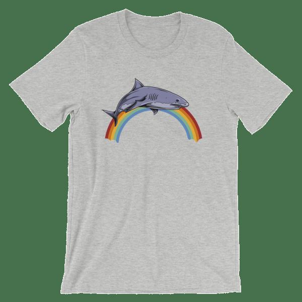 A Shark on a Rainbow t-shirt