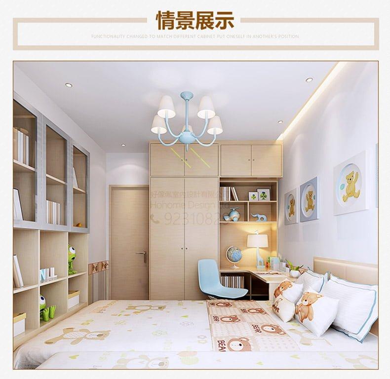 房間設計 像木色 組合床 轉角書枱 衣櫃 玻璃書櫃 傢俬訂造 — 好傢俬HoHomeHK