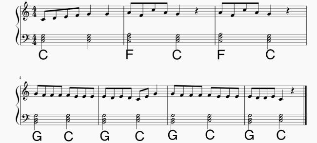 2分音符のみで伴奏をつけた「こぎつね」の楽譜です。
