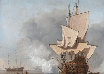 The cannon shot  *oil on canvas  *78.5 x 67 cm  *ca. 1680 *signed : W. v. Velde J.