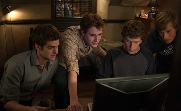 """L-r, Andrew Garfield, Joseph Mazzello, Jesse Eisenberg and Patrick Maple in Columbia Pictures' """"The Social Network."""""""