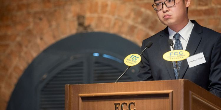 Andy Chan, founder of the Hong Kong National Party, speaks during a luncheon at the Foreign Correspondents' Club (FCC) in Hong Kong, China, August 14, 2018. Paul Yeung/Pool via REUTERS