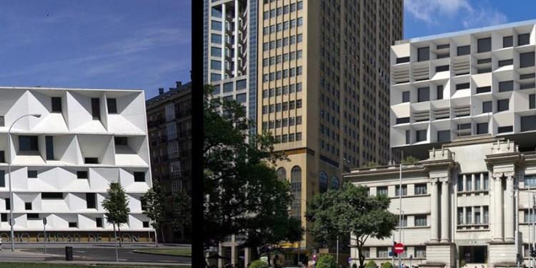 O Auditório da Cidade de León, à esquerda, e o projecto de Carlos Marreiros.
