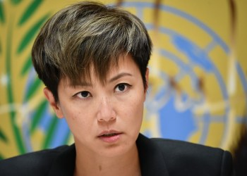 Pro-democracy Hong Kong singer Denise Ho attends a press conference after addressing the United Nations Human Rights Council in Geneva on July 8, 2019. - The United Nations should convene an urgent session to discuss the crisis in Hong Kong, says singer and protest activist Denise Ho. Ho is in Geneva to adress the United Nations Human rights Council about the situation in the semi-autonomous territory which was sparked by a now-suspended law that would have allowed extraditions to mainland China. (Photo by Fabrice COFFRINI / AFP)