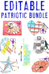 EDITABLE Patriotic Bundle with an eagle, heart, ribbon, dog tag, Statue of Liberty, ribbon, and poppy flower