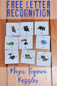 This FREE Letter Recognition Magic Square Puzzle is great for literacy centers or stations, review, early or fast finishers, enrichment, GATE, and critical thinking skills. It's best for preK and Kindergarten classroom or home school students. Great to recognize and match uppercase and lowercase letters. Print, cut, go! This low prep FREEBIE is sure to be fun and engaging! {preschool, K, classroom, letter identification, free download, pre-kindergarten}