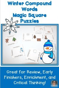 Check out this Winter Compound Words Magic Square Puzzle for 1st and 2nd grade students! It's a great, fun, winter-y buy!