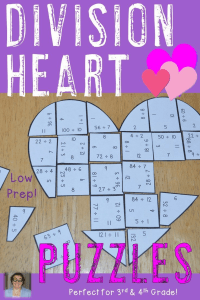 Valentine's Day Division Heart Puzzles - These puzzles are perfect for math centers during Valentine's Day week. Each of the three puzzles will have students answer 36 different division problems from 1÷1 to 144÷12. They're perfect for third or fourth grade students (or 5th graders who need review). Use them for early or fast finishers, review, enrichment, GATE, critical thinking, centers, and more! Click through to pick yours up today! $ {3rd or 4th grade}